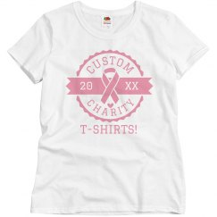 Custom Breast Cancer Charity Badge Tees