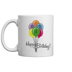 Happy Birthday Dad Coffee Cup/Mug - Colorful Balloons
