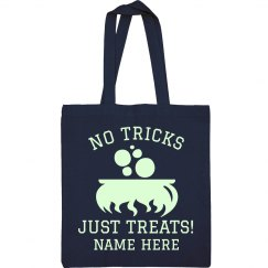 No Tricks Custom Name Treat Bag