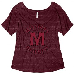 Ladies' flowy tee with rounded M logo