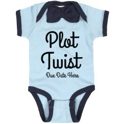 Plot Twist Baby Announcement Custom Bowtie Bodysuit