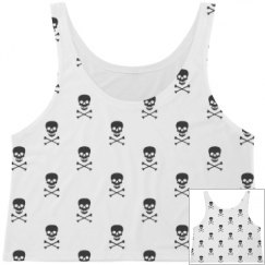 Skull & Bones Print Crop Top