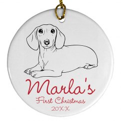 Dog's First Christmas Customizable Ornament