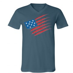 USA Flag - Unisex Canvas V-neck Tee