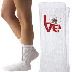 Distressed CA LOVE Socks