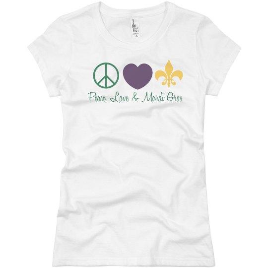 7a55eb818 Peace, Love, Mardi Gras Ladies Slim Fit Basic Promo Jersey T-Shirt