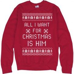 Matching Christmas Sweaters Couple