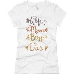 Wife Mom Boss Diva Jersey T-Shirt