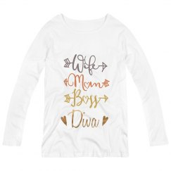 Wife Mom Boss Diva Long Sleeve Maternity