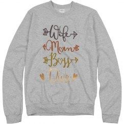 Wife Mom Boss Diva Crewneck Sweatshirt