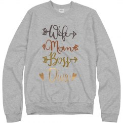 Wife Mom Boss Diva Crewneck Sweatshirt