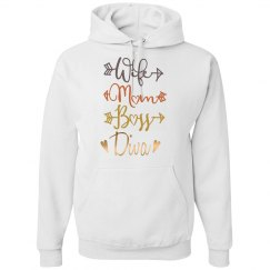 Wife Mom Boss Diva Basic Hoodie