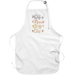 Wife Mom Boss Diva White Apron