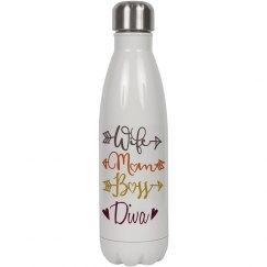 Wife Mom Boss Diva White Steel Water Bottle