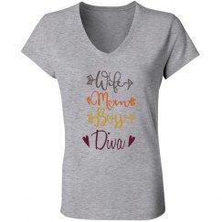 Wife Mom Boss Diva V Neck Jersey T-Shirt