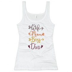 Wife Mom Boss Diva Long Tank Top