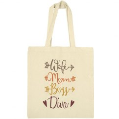 Wife Mom Boss Diva Bargain Tote Bag
