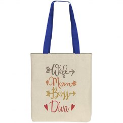 Wife Mom Boss Diva Canvas Tote Bag