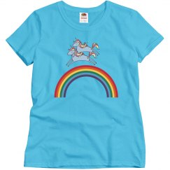 Unicorn Riding A Unicorn Over A Rainbow