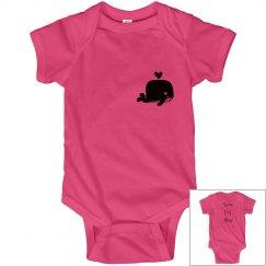 Hot pink onesie - whale logo
