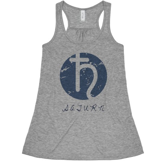 Planet Saturn Symbol Ladies Flowy Racerback Tank Top