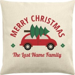Merry Christmas Custom Family Tree Pillowcase