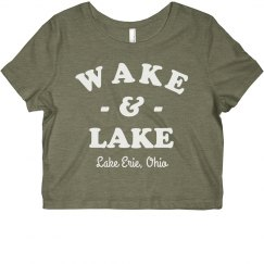 Wake & Lake Custom Funny Vacation Crop Tee