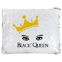 Black Queen sequined Makeup bag