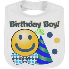Birthday Boy Emoji Baby Bib