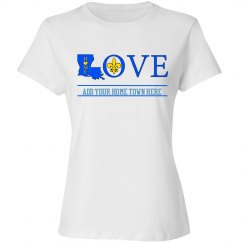 Love Home Louisiana (Blue) with customizable home town