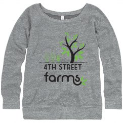 4th Street Farms Misses Wide-neck Sweatshirt
