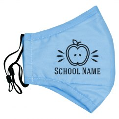 School Name Custom Teacher's Apple Mask