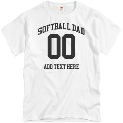 Custom Number Softball Dad