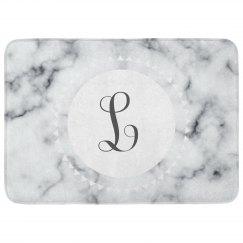 Custom Initials Marble Print Bath Mat