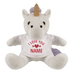 I Love You Custom Valentine's Unicorn Plush