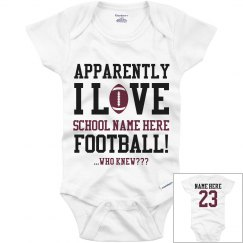 Funny Football Baby Onesie With Custom Name Number