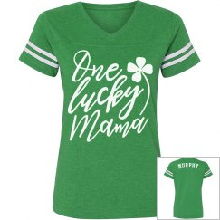 One Lucky Mama Custom Name Vintage Tee