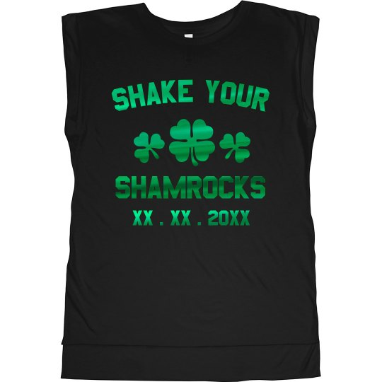 67573467b Custom Shake Your Shamrocks Ladies Flowy Muscle Tee with Rolled Cuffs