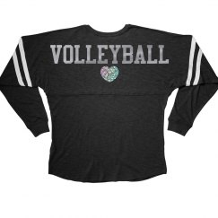 Silver Metallic Volleyball Love