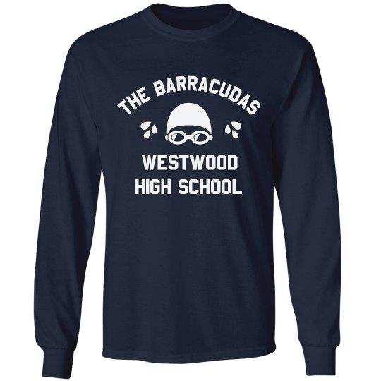 T Shirt Designs For High | Custom High School Swim Team Design Unisex Cotton Long Sleeve T Shirt