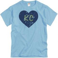 I Heart KC - light blue/navy - distressed
