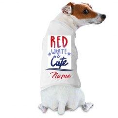 Red, White, & Cute Custom Name Pup