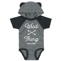 Wild Thing Custom Hooded & Ears Baby Bodysuit