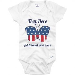 Custom Text July Fourth Onesie