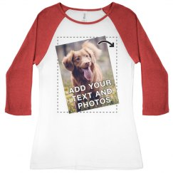 Full Color Photo Ladies Raglan Tee