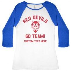 Devil Mascot Baseball Tee