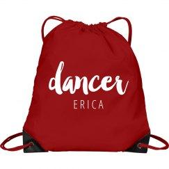 Pink DANCER drawstring sport backpack