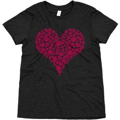 diamond heart youth girls tee shirt
