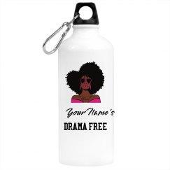 Personalized Drama Free Black Woman Water Bottle