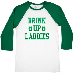 Green Metallic Drink Up Laddies